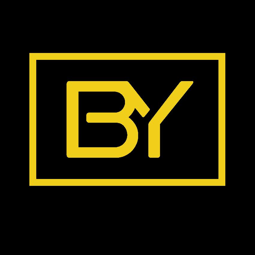 Icono biyectiva amarillo fondo negro